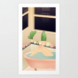 girl taking a relaxing bath under the stars Art Print