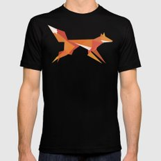 Fractal geometric fox Black SMALL Mens Fitted Tee