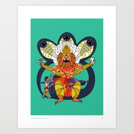 Narasimha - Half Man, Half Lion, All Vengeance! Art Print