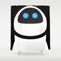 pixar Shower Curtains featuring PIXAR CHARACTER POSTER - Eve - WALL-E by Marco Calignano