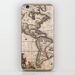 1658 Visscher Map of North & South America with enhancements iPhone Skin