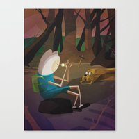 finn and jake Canvas Prints featuring Finn & Jake by modHero
