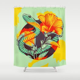 Snake and flowers Shower Curtain