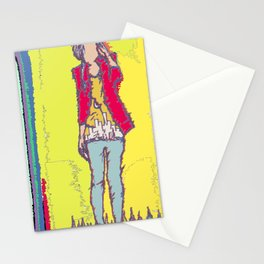 A Yellow Girl Stationery Cards