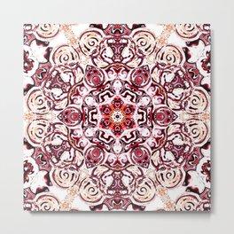 pink purple white puce mandala art Metal Print