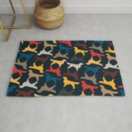 Golden Retriever Silhouettes - Colorful Pattern Rug