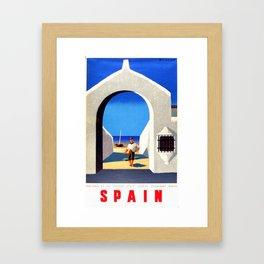 Vintage Spain Fisherman Travel Framed Art Print