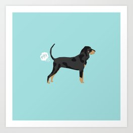 Coonhound funny farting dog breed gifts Art Print