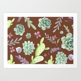 Cactus Watercolor Pattern 12 Art Print
