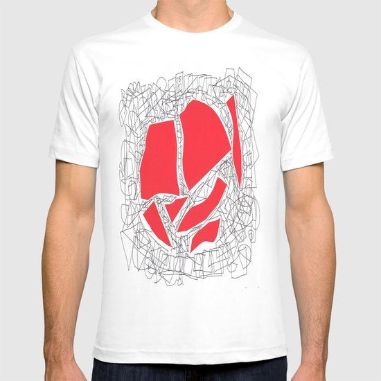 Red collage doodle T-shirt