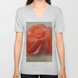 Romantic Peachy Rose Floral Unisex V-Neck