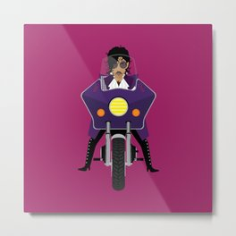 The Emoji-fication of His Purple Majesty: Motorcycle Metal Print