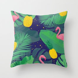 Flamingoes in the Starlight Throw Pillow