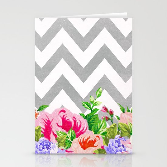 FLORAL GRAY CHEVRON Stationery Cards