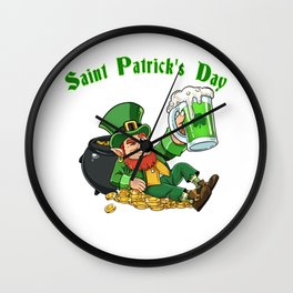 St. Patrick's Day T Shirt Pot of Gold - green Beer Wall Clock