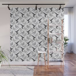 Pretty beautiful cute hummingbirds, delicate little leaves black and white monochrome pattern. Gift Wall Mural