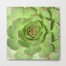 Cactus Green Succulent with Faux Gold Tips Metal Print