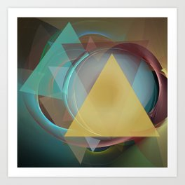 Modern colourful abstract with triangles Art Print