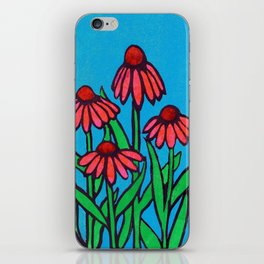 Red and Orange Cone Flowers. Mixed Media iPhone Skin