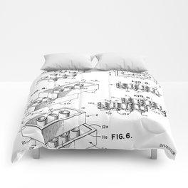 Legos Patent - Legos Brick Art - Black And White Comforters