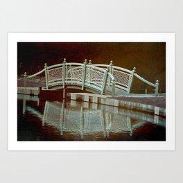 Bridge in a pond Art Print