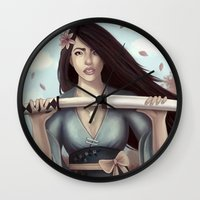 sword Wall Clocks featuring White Sword by Eva Worl Art