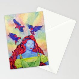 Eclectus Parrot Bird oman Stationery Cards