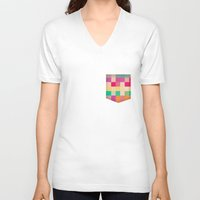 quilt V-neck T-shirts featuring quilt by spinL