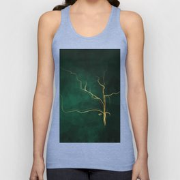 Kintsugi Emerald #green #gold #kintsugi #japan #marble #watercolor #abstract Unisex Tank Top