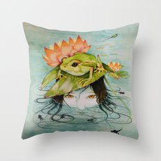 The Girl Who Kisses Frogs Throw Pillow