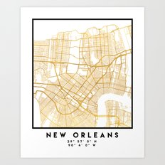 NEW ORLEANS LOUISIANA CITY STREET MAP ART Art Print