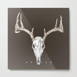 Deer Skull Antlers on Dark Dark Taupe Metal Print
