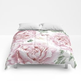 Pretty Pink Roses Floral Garden Comforters