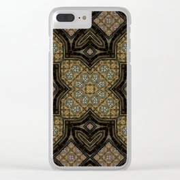 Victorian Art Deco Medieval Pattern brown SB24 Clear iPhone Case