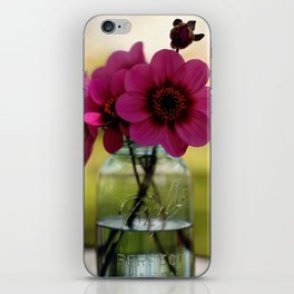 Dahlias In A Blue Jar iPhone Skin