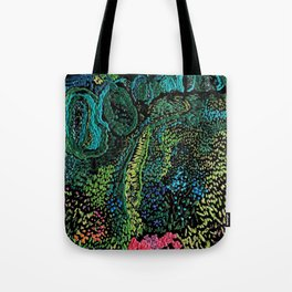 cheerful handmade embroidery in the digital world Tote Bag