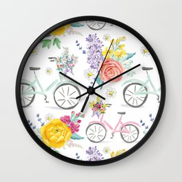 Bike and bouquets pattern Wall Clock