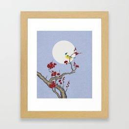 Plum blossoms, bird, and the moon Type F (Minhwa: Korean traditional/folk art) Framed Art Print