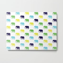 Colorful Elephants Silhouettes Metal Print