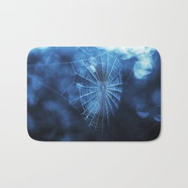 Spider Web in Blue Bath Mat