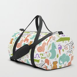Zoo Pattern in Soft Colors Duffle Bag