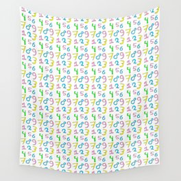 number 1- count,math,arithmetic,calculation,digit,numerical,child,school Wall Tapestry