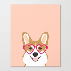 Corgi Love - Valentines heart shaped glasses on funny dog for dog lovers pet gifts customizable dog  Canvas Print