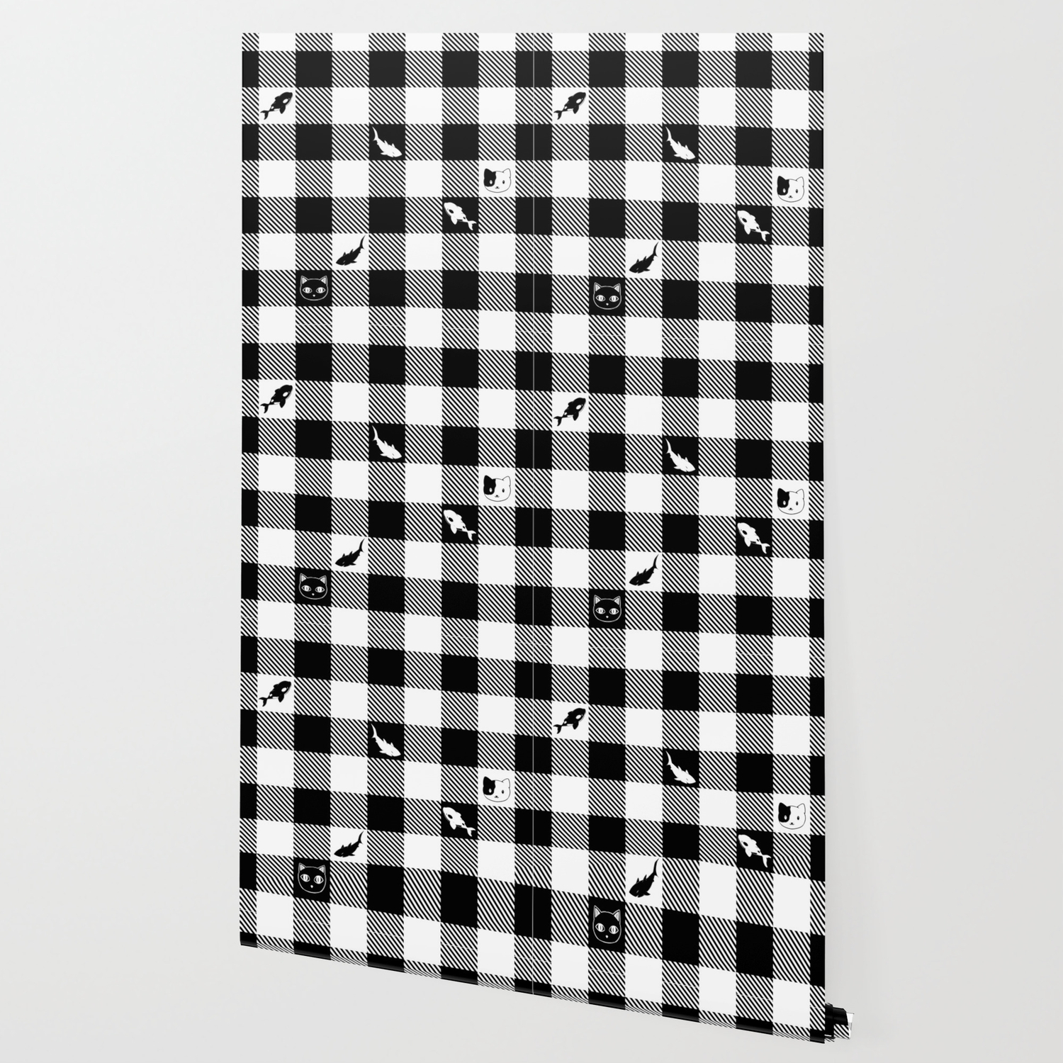 Black And White Checkered Animals Wallpaper By Bloomejasmine
