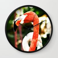 hot pink Wall Clocks featuring Hot Pink by Colin's Workshop