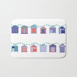 Summertime beach huts Bath Mat