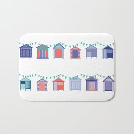 Summertime beach huts Bath Mat