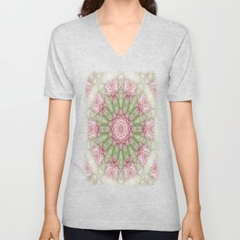 Pink Chrysanthemums Kaleidoscope Art 7 Unisex V-Neck