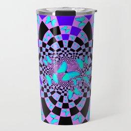 Purple & Blue Butterfly Geometric Abstract Designs Travel Mug