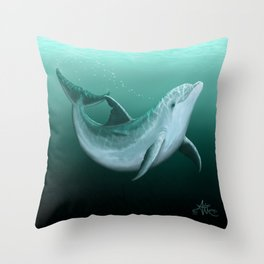 """Riversoul"" by Amber Marine ~ Indian River Lagoon bottlenose dolphin art, (Copyright 2014) Throw Pillow"